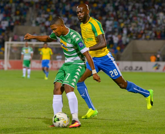 Lyle Lakay of Bloemfontein Celtic and Anthony Laffor of Mamelodi Sundowns during the Absa Premiership match between Bloemfontein Celtic and Mamelodi Sundowns on 8 February 2017 at Dr Molemela Stadium, Bloemfontein ©Frikkie Kapp /BackpagePix