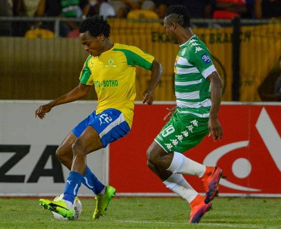 Percy Tau of Mamelodi Sundowns and Sibusiso Mxoyana of Bloemfontein Celtic during the Absa Premiership match between Bloemfontein Celtic and Mamelodi Sundowns on 8 February 2017 at Dr Molemela Stadium, Bloemfontein ©Frikkie Kapp /BackpagePix