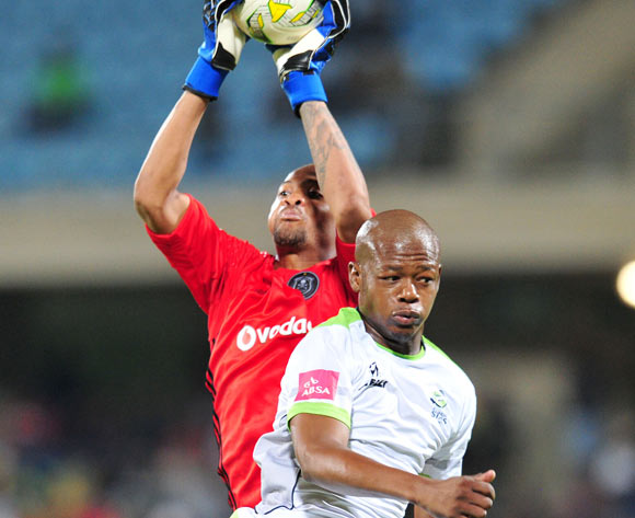 Ndumiso Mabena of Platinum Stars challenges Brighton Mhlongo of Orlando Pirates during the Absa Premiership 2016/17 match between Platinum Stars and Orlando Pirates at Royal Bafokeng Stadium, Rustenburg South Africa on 08 February 2017 ©Muzi Ntombela/BackpagePix