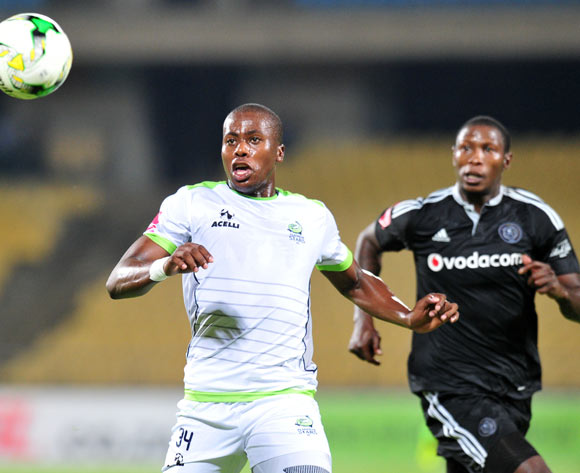 Bongi Ntuli of Platinum Stars challenged by Ayanda Gcaba of Orlando Pirates during the Absa Premiership 2016/17 match between Platinum Stars and Orlando Pirates at Royal Bafokeng Stadium, Rustenburg South Africa on 08 February 2017 ©Muzi Ntombela/BackpagePix