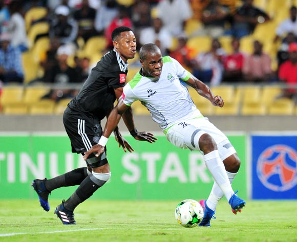 Bongi Ntuli of Platinum Stars challenged by Happy Jele of Orlando Pirates during the Absa Premiership 2016/17 match between Platinum Stars and Orlando Pirates at Royal Bafokeng Stadium, Rustenburg South Africa on 08 February 2017 ©Muzi Ntombela/BackpagePix