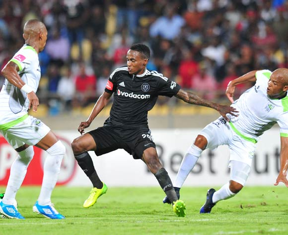 Thembinkosi Lorch of Orlando Pirates challenged by Solomon Mathe and Vuyo Mere of Platinum Stars during the Absa Premiership 2016/17 match between Platinum Stars and Orlando Pirates at Royal Bafokeng Stadium, Rustenburg South Africa on 08 February 2017 ©Muzi Ntombela/BackpagePix