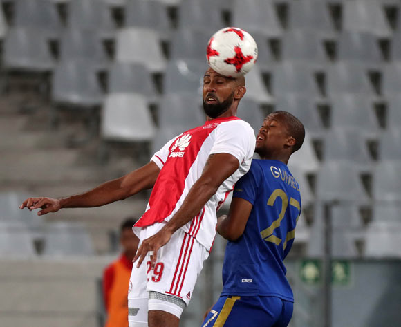 Nathan Paulse of Ajax Cape Town battles for the ball with Tshepo Gumede of Cape Town City FC during the Absa Premiership 2016/17 football match between Ajax Cape Town and Cape Town City FC at Cape Town Stadium, Cape Town on 11 February 2017 ©Chris Ricco/BackpagePix