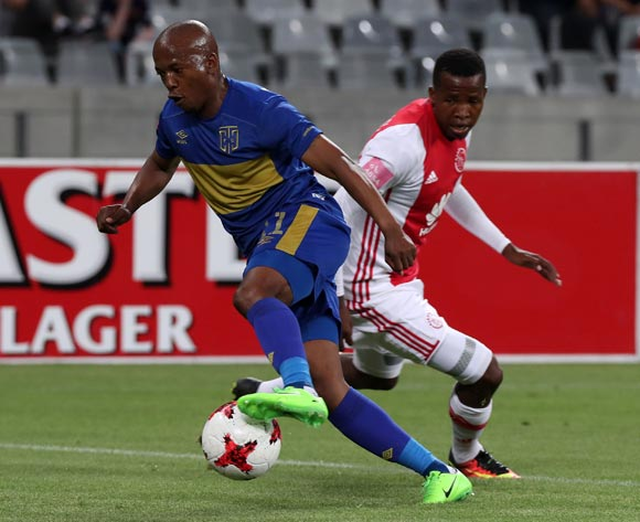 Aubrey Ngoma of Cape Town City FC evades challenge from Thabo Mosadi of Ajax Cape Town during the Absa Premiership 2016/17 football match between Ajax Cape Town and Cape Town City FC at Cape Town Stadium, Cape Town on 11 February 2017 ©Chris Ricco/BackpagePix