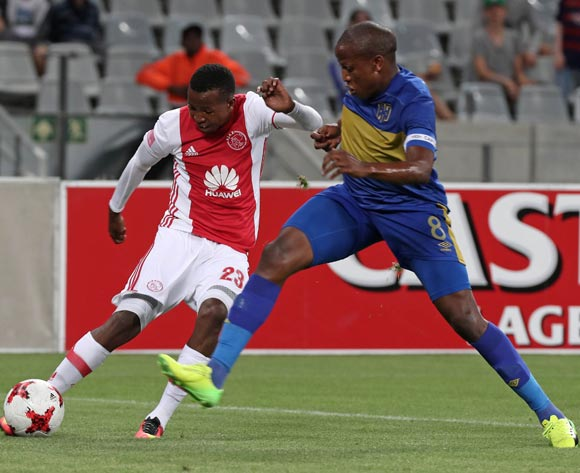 Thabo Mosadi of Ajax Cape Town challenged by Lebogang Manyama of Cape Town City FC during the Absa Premiership 2016/17 football match between Ajax Cape Town and Cape Town City FC at Cape Town Stadium, Cape Town on 11 February 2017 ©Chris Ricco/BackpagePix