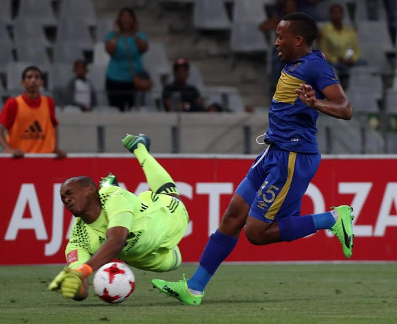 Lehlohonolo Majoro of Cape Town City FC challenged by Jody February of Ajax Cape Town during the Absa Premiership 2016/17 football match between Ajax Cape Town and Cape Town City FC at Cape Town Stadium, Cape Town on 11 February 2017 ©Chris Ricco/BackpagePix
