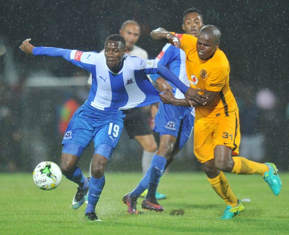 Evans Rusike of Maritzburg United challenged by Willard Katsande of Kaizer Chiefs during the Absa Premiership 2016/17 match between Maritzburg United and Kaizer Chiefs at Harry Gwala Stadium, Johannesburg South Africa on 11 February 2017 ©Muzi Ntombela/BackpagePix