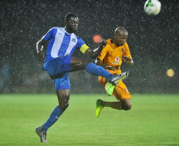 Joseph Molangoane of Kaizer Chiefs challenged by Denis Weidlich of Maritzburg United during the Absa Premiership 2016/17 match between Maritzburg United and Kaizer Chiefs at Harry Gwala Stadium, Johannesburg South Africa on 11 February 2017 ©Muzi Ntombela/BackpagePix