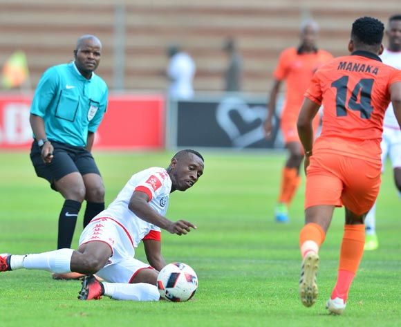 Siyabonga Nhlapho of Highlands Park challenged by Edgar Manaka of Polokwane City during the Absa Premiership 2016/17 match between Highlands Park and Polokwane City at Makhulong Stadium, Johannesburg South Africa on 12 February 2017 ©Samuel Shivambu/BackpagePix
