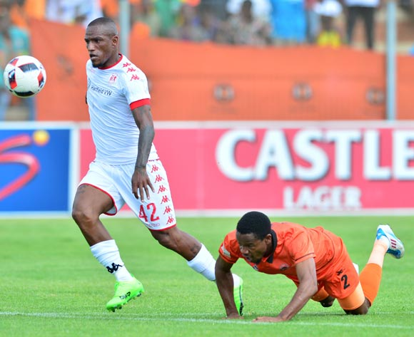 Thabiso Semenya of Polokwane City challenged by Franklin Cale of Highlands Park during the Absa Premiership 2016/17 match between Highlands Park and Polokwane City at Makhulong Stadium, Johannesburg South Africa on 12 February 2017 ©Samuel Shivambu/BackpagePix