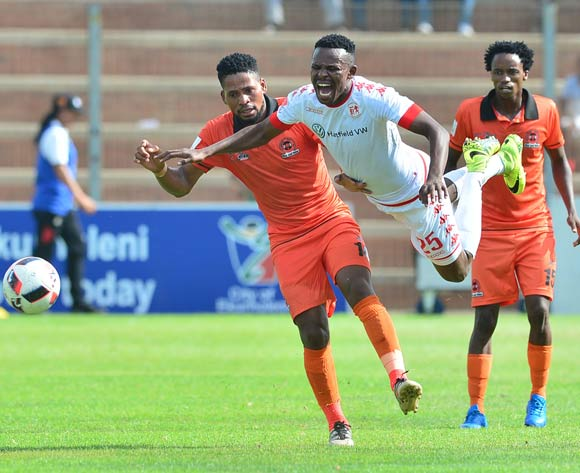 Edwin Sitayitayi of Highlands Park challenged by Edgar Manaka of Polokwane City during the Absa Premiership 2016/17 match between Highlands Park and Polokwane City at Makhulong Stadium, Johannesburg South Africa on 12 February 2017 ©Samuel Shivambu/BackpagePix