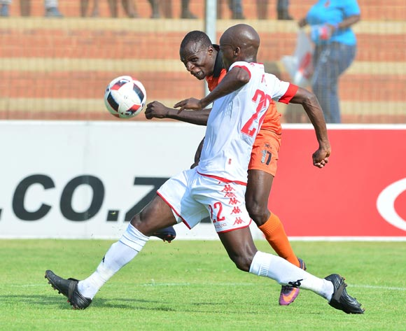 Rodney Ramagalela of Polokwane City challenged by Zamuxolo Ngalo of Highlands Park during the Absa Premiership 2016/17 match between Highlands Park and Polokwane City at Makhulong Stadium, Johannesburg South Africa on 12 February 2017 ©Samuel Shivambu/BackpagePix