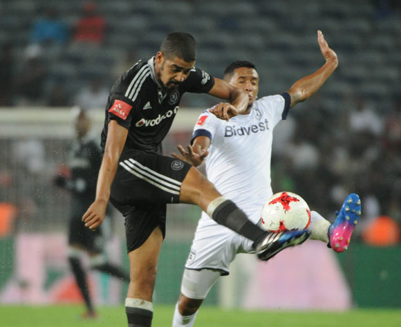Daine Klate of Bidvest Wits challenges Abbubakar Mobara of Orlando Pirates during the Absa Premiership match between Orlando Pirates and Bidvest Wits on 15 February 2017 at Orlando Stadium ©Sydney Mahlangu/BackpagePix