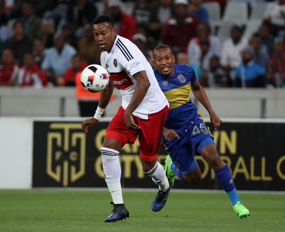 Happy Jele of Orlando Pirates evades challenge from Lehlohonolo Majoro of Cape Town City FC during the Absa Premiership 2016/17 football match between Cape Town City FC and Orlando Pirates at Cape Town Stadium, Cape Town on 18 February 2017 ©Chris Ricco/BackpagePix