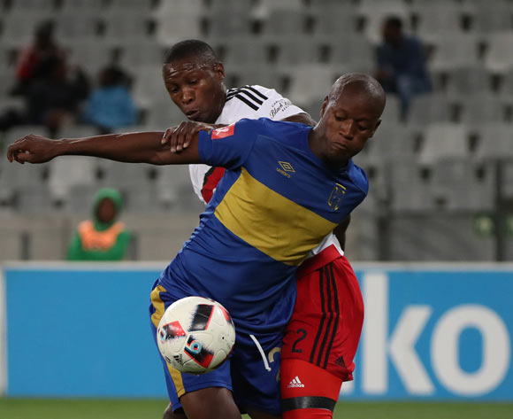 Judas Moseamedi of Cape Town City FC battles for the ball with Ayanda Gcaba of Orlando Pirates during the Absa Premiership 2016/17 football match between Cape Town City FC and Orlando Pirates at Cape Town Stadium, Cape Town on 18 February 2017 ©Chris Ricco/BackpagePix