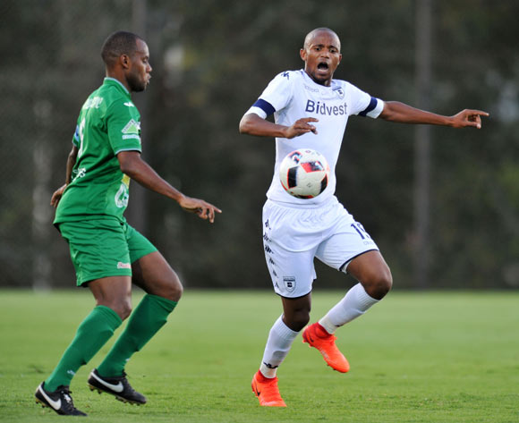 Latour David of St Louisienne challenged by Xola Mlambo of Bidvest Wits during the 2017 CAF Champions League Preliminary Round match between Bidvest Wits and St Louisienne at Wits Stadium, Tsakane  South Africa on 18 February 2017 ©Muzi Ntombela/BackpagePix