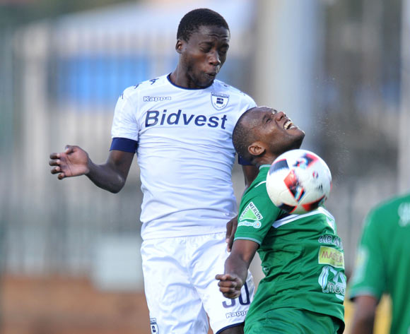 Ben Motshwari of Bidvest Wits challenged by Latour David of St Louisienne during the 2017 CAF Champions League Preliminary Round match between Bidvest Wits and St Louisienne at Wits Stadium, Tsakane  South Africa on 18 February 2017 ©Muzi Ntombela/BackpagePix