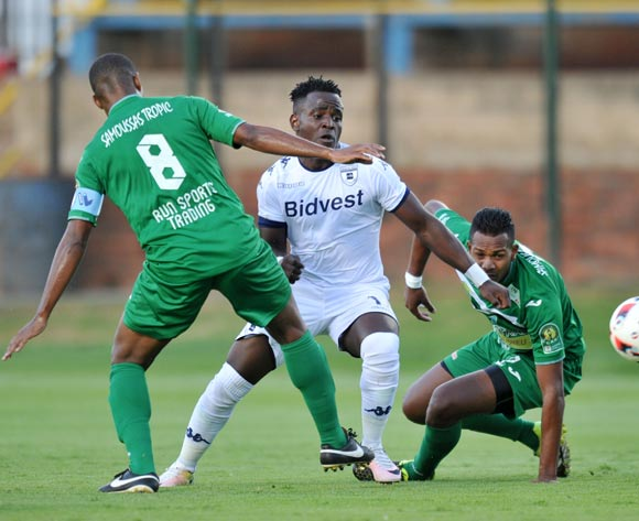 Gabadinho Mhango of Bidvest Wits challenged by Latour David and Vadivelou Olivia of St Louisienne during the 2017 CAF Champions League Preliminary Round match between Bidvest Wits and St Louisienne at Wits Stadium, Tsakane  South Africa on 18 February 2017 ©Muzi Ntombela/BackpagePix