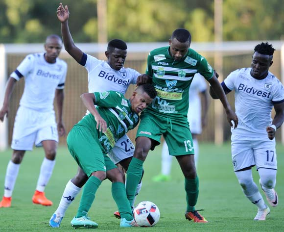Adras Kevin and Christopher Pythie of St Louisienne challenged by Sifiso Myeni of Bidvest Wits during the 2017 CAF Champions League Preliminary Round match between Bidvest Wits and St Louisienne at Wits Stadium, Tsakane  South Africa on 18 February 2017 ©Muzi Ntombela/BackpagePix