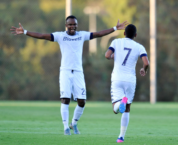Daine Klate of Bidvest Wits celebrates goal with Siboniso Gaxa during the 2017 CAF Champions League Preliminary Round match between Bidvest Wits and St Louisienne at Wits Stadium, Tsakane  South Africa on 18 February 2017 ©Muzi Ntombela/BackpagePix