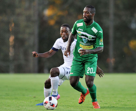 Ben Motshwari of Bidvest Wits challenges Djebi Zadi Lionel of St Louisienne during the 2017 CAF Champions League Preliminary Round match between Bidvest Wits and St Louisienne at Wits Stadium, Tsakane  South Africa on 18 February 2017 ©Muzi Ntombela/BackpagePix
