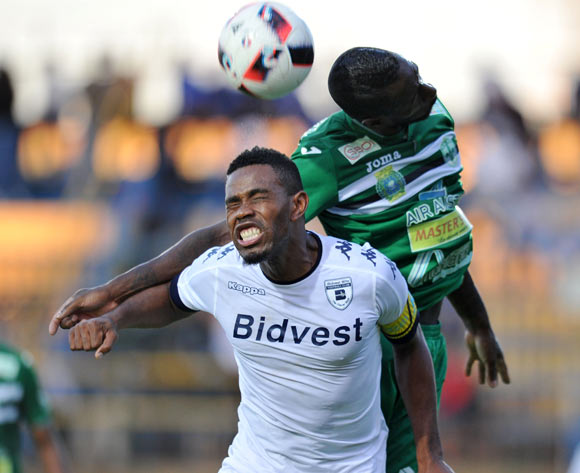 Thulani Hlatshwayo of Bidvest Wits challenges Djebi Zadi Lionel of St Louisienne during the 2017 CAF Champions League Preliminary Round match between Bidvest Wits and St Louisienne at Wits Stadium, Tsakane  South Africa on 18 February 2017 ©Muzi Ntombela/BackpagePix
