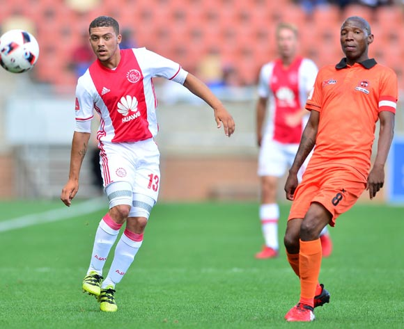 Grant Margeman of Ajax cape Town challenged by Jabulani Maluleke of Polokwane City during the Absa Premiership 2016/17 match between Polokwane City and Ajax Cape Town at Peter Mokaba Stadium, Polokwane South Africa on 18 February 2017 ©Samuel Shivambu/BackpagePix