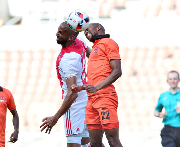 Nathan Paulse of Ajax cape Town challenged by Sibusiso Mbonani of Polokwane City during the Absa Premiership 2016/17 match between Polokwane City and Ajax Cape Town at Peter Mokaba Stadium, Polokwane South Africa on 18 February 2017 ©Samuel Shivambu/BackpagePix