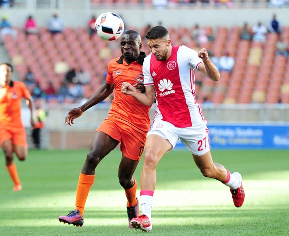 Rodney Ramagalela of Polokwane City challenged by Roscoe Pietersen of Ajax Cape Town during the Absa Premiership 2016/17 match between Polokwane City and Ajax Cape Town at Peter Mokaba Stadium, Polokwane South Africa on 18 February 2017 ©Samuel Shivambu/BackpagePix