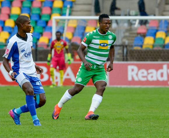 Menzi Masuku of Chippa United and Sibusiso Mxoyana of Bloemfontein Celtic  during the Absa Premiership match between Bloemfontein Celtic and Chippa United on 19 February 2017 at Dr Molemela Stadium, Bloemfontein ©Frikkie Kapp /BackpagePix
