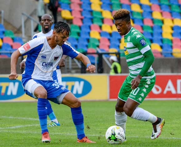 Dumisani Zuma of Bloemfontein Celtic and Cristopher Bergman of Chippa United during the Absa Premiership match between Bloemfontein Celtic and Chippa United on 19 February 2017 at Dr Molemela Stadium, Bloemfontein ©Frikkie Kapp /BackpagePix