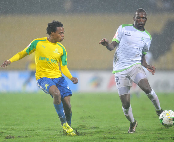 Percy Tau of Mamelodi Sundowns challenged by Willem Mwedihanga of Platinum Stars during the Absa Premiership 2016/17 match between Platinum Stars and Mamelodi Sundowns at Royal Bafokeng Stadium, Rusternburg South Africa on 21 February 2017 ©Muzi Ntombela/BackpagePix