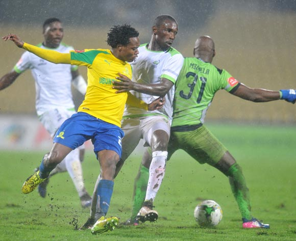 Percy Tau of Mamelodi Sundowns challenged by Willem Mwedihanga and Mbongeni Mzimela of Platinum Stars during the Absa Premiership 2016/17 match between Platinum Stars and Mamelodi Sundowns at Royal Bafokeng Stadium, Rusternburg South Africa on 21 February 2017 ©Muzi Ntombela/BackpagePix