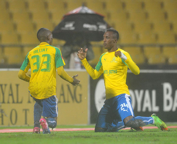 Khama Billiat of Mamelodi Sundowns celebrates goal during the Absa Premiership 2016/17 match between Platinum Stars and Mamelodi Sundowns at Royal Bafokeng Stadium, Rusternburg South Africa on 21 February 2017 ©Muzi Ntombela/BackpagePix