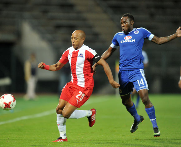 Kurt Lentjies of Maritzburg United challenged by Onismor Bhasera of Supersport United during the Absa Premiership 2016/17 match between Supersport United and Maritzburg United at Lucas Moripe Stadium, Pretoria  South Africa on 22 February 2017 ©Muzi Ntombela/BackpagePix