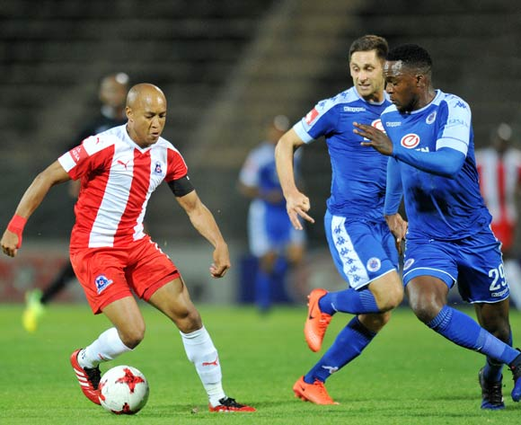 Kurt Lentjies of Maritzburg United challenged by Morgan Gould of Supersport United during the Absa Premiership 2016/17 match between Supersport United and Maritzburg United at Lucas Moripe Stadium, Pretoria  South Africa on 22 February 2017 ©Muzi Ntombela/BackpagePix