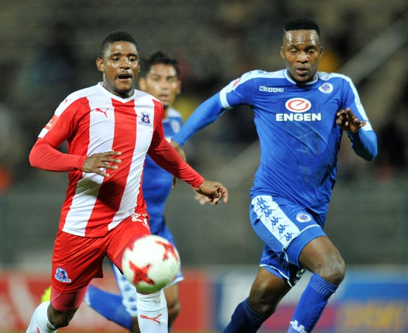 Mohau Mokate of Maritzburg United challenged by Morgan Gould of Supersport United during the Absa Premiership 2016/17 match between Supersport United and Maritzburg United at Lucas Moripe Stadium, Pretoria  South Africa on 22 February 2017 ©Muzi Ntombela/BackpagePix