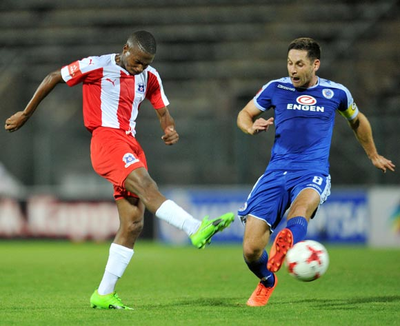 Bandile Shandu of Maritzburg United challenged by Dean Furman of Supersport United during the Absa Premiership 2016/17 match between Supersport United and Maritzburg United at Lucas Moripe Stadium, Pretoria  South Africa on 22 February 2017 ©Muzi Ntombela/BackpagePix