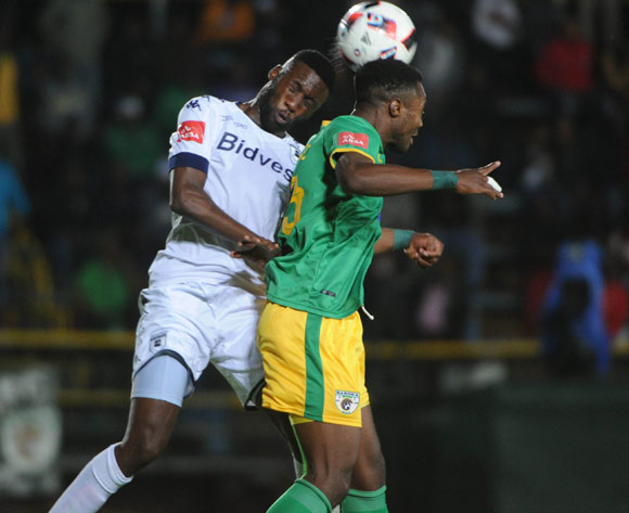 Buhle Mkhwanazi of Bidvest Wits challenges Marshall Munetsi of Baroka FC  during the Absa Premiership match between Bidvest Wits and Baroka FC on the 22 February 2017 at Bidvest Wits Stadium © Sydney Mahlangu/BackpagePix