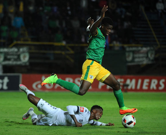 Thabang Monare of Bidvest Wits is challenged by Marshall Munetsi of Baroka FC  during the Absa Premiership match between Bidvest Wits and Baroka FC on the 22 February 2017 at Bidvest Wits Stadium © Sydney Mahlangu/BackpagePix