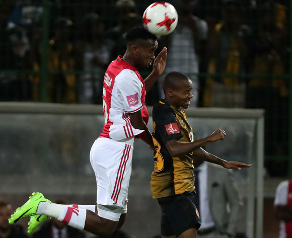 Mosa Lebusa of Ajax Cape Town battles for the ball with Joseph Molangoane of Kaizer Chiefs during the Absa Premiership 2016/17 football match between Ajax Cape Town and Kaizer Chiefs at Athlone Stadium, Cape Town on 25 February 2017 ©Chris Ricco/BackpagePix