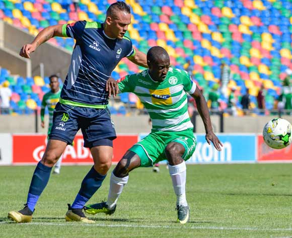 Deon Hotto of Bloemfontein Celtic and Ryan De Jongh of  Platinum Stars  during the Absa Premiership match between Bloemfontein Celtic and Platinum Stars on 25 February 2017 at Dr Molemela Stadium, Bloemfontein ©Frikkie Kapp /BackpagePix