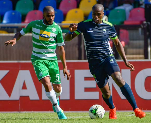Bonginkosi Ntuli of Platinum Stars and Wandisile Letlabika of Bloemfontein Celtic during the Absa Premiership match between Bloemfontein Celtic and Platinum Stars on 25 February 2017 at Dr Molemela Stadium, Bloemfontein ©Frikkie Kapp /BackpagePix