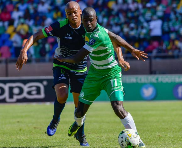 Deon Hotto of Bloemfontein Celtic and Solomon Mathe of  Platinum Stars  during the Absa Premiership match between Bloemfontein Celtic and Platinum Stars on 25 February 2017 at Dr Molemela Stadium, Bloemfontein ©Frikkie Kapp /BackpagePix