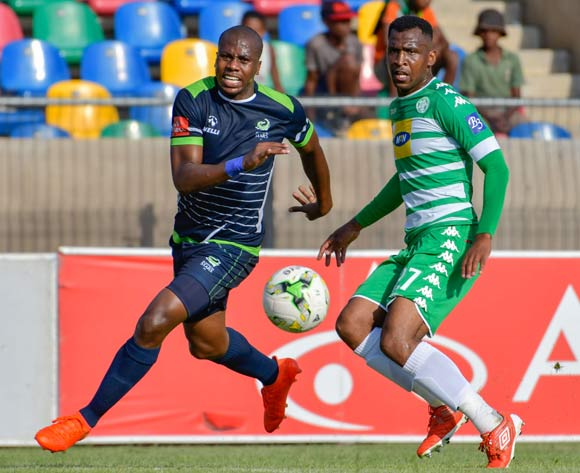 Alfred Ndengane of Bloemfontein Celtic and Bonginkosi Ntuli of  Platinum Stars  during the Absa Premiership match between Bloemfontein Celtic and Platinum Stars on 25 February 2017 at Dr Molemela Stadium, Bloemfontein ©Frikkie Kapp /BackpagePix