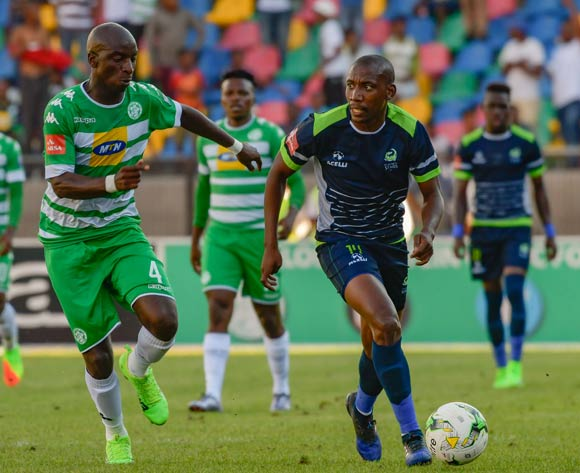 Tintswalo Tshabalala of  Platinum Stars and Musa Nyatama of Bloemfontein Celtic during the Absa Premiership match between Bloemfontein Celtic and Platinum Stars on 25 February 2017 at Dr Molemela Stadium, Bloemfontein ©Frikkie Kapp /BackpagePix