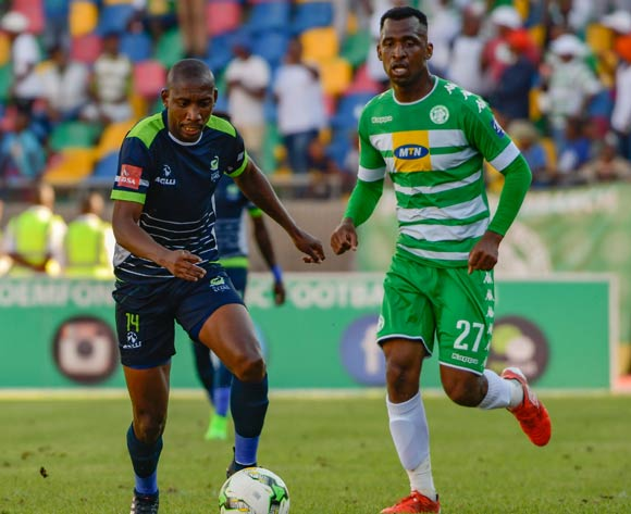 Tintswalo Tshabalala of  Platinum Stars and Alfred Ndengane of Bloemfontein Celtic during the Absa Premiership match between Bloemfontein Celtic and Platinum Stars on 25 February 2017 at Dr Molemela Stadium, Bloemfontein ©Frikkie Kapp /BackpagePix