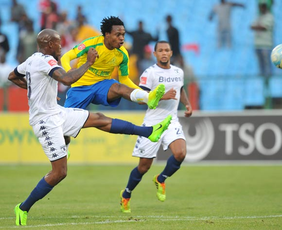 Percy Tau of Mamelodi Sundowns challenged by Sifiso Hlanti of Bidvest Wits during the Absa Premiership 2016/17 match between Mamelodi Sundowns and Bidvest Wits at Loftus Stadium, Pretoria  South Africa on 25 February 2017 ©Muzi Ntombela/BackpagePix