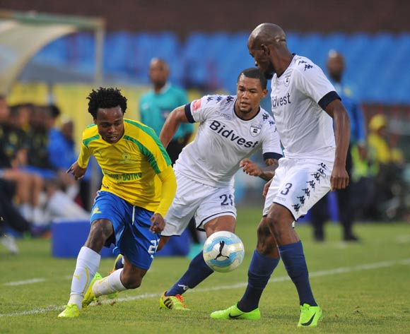 Percy Tau of Mamelodi Sundowns challenged by Sifiso Hlanti and Granwald Scott  of Bidvest Wits  during the Absa Premiership 2016/17 match between Mamelodi Sundowns and Bidvest Wits at Loftus Stadium, Pretoria  South Africa on 25 February 2017 ©Muzi Ntombela/BackpagePix