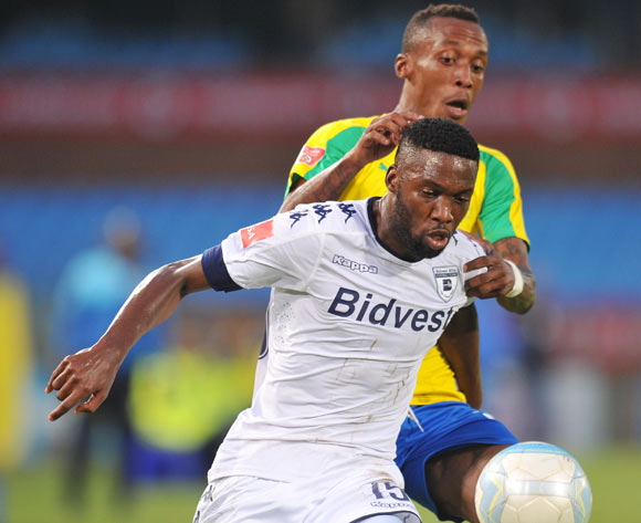 Buhle Mkhwanazi of Bidvest Wits challenged by Yannick Zakri of Mamelodi Sundowns during the Absa Premiership 2016/17 match between Mamelodi Sundowns and Bidvest Wits at Loftus Stadium, Pretoria  South Africa on 25 February 2017 ©Muzi Ntombela/BackpagePix